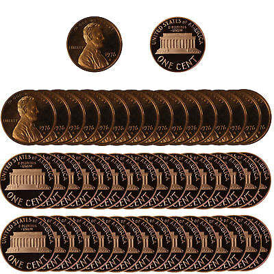 1975 Gem Proof Lincoln Cent Roll - 50 US Coins