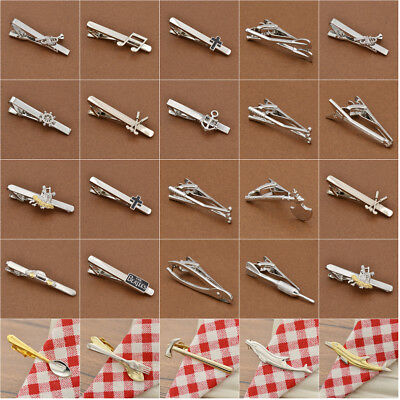 Various Designs Mens Metal Tie Clasp Silver Necktie Pin Clip Wedding Accessories
