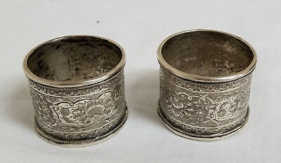 Antique Sterling Silver Persian Indian Engraved Napkin Rings