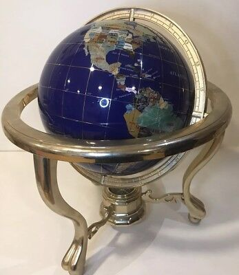 145 tall handcrafted gemstone world map globe with compass large blue lapis gemstone world globe copper stand w compass gumiabroncs Image collections