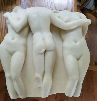 AN ANCIENT GREEK BUST of 3 NUDES  (hanging sculpture resin) WELL MADE REPLICA