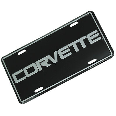 New Metal Embossed Black Silver License Plate Stamped Tag for Chevy Corvette