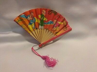 Red Miniture Vintage Oriental Asian Chinese Hand Held Paper Tiny Fan Pink Tassle