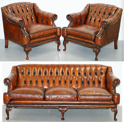 Restored Lutyen's Style Viceroy's Chesterfield Brown Leather Sofa & Armchairs