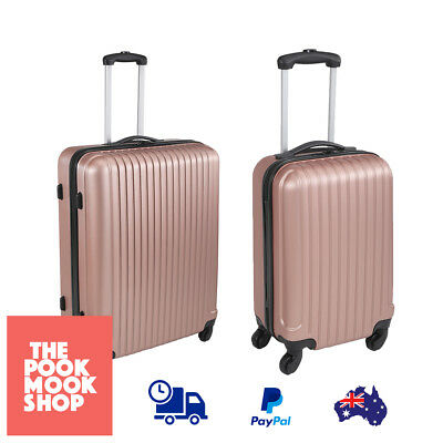 Hard Case Luggage Rose Gold 4-Wheeled Retractable Handle Suitcase Lockable Bags