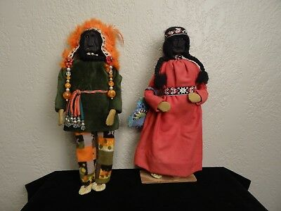 Pair Mid Century Native American Indian 1970's Handmade Plains Dolls New Mexico