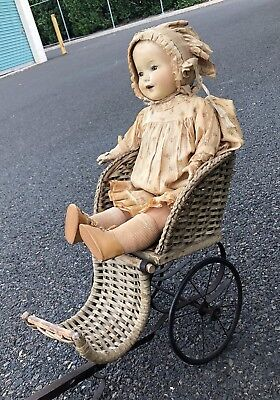 Antique WICKER PULL-CARRIAGE Doll Cart Victorian  RARE!