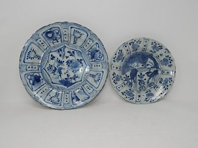 Set of 2 Asian Blue and White Plates Vintage or Antique