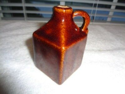 "Antique Miniature Stoneware Square   Whiskey Jug 2 7/8"" tall"