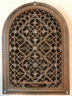 Ornate 1880's Antique Victorian Cast Iron Arched Gothic Heat Register w/ Louvers