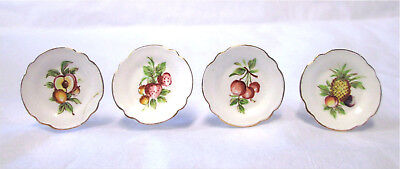 4 Miniature Dollhouse Stokesay Ware SW Signed Fruit Plates Pineapple Strawberry