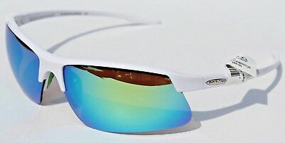 10660a06c2 SUNCLOUD Flyer POLARIZED Sunglasses White Green Mirror NEW Smith Sport Cycle