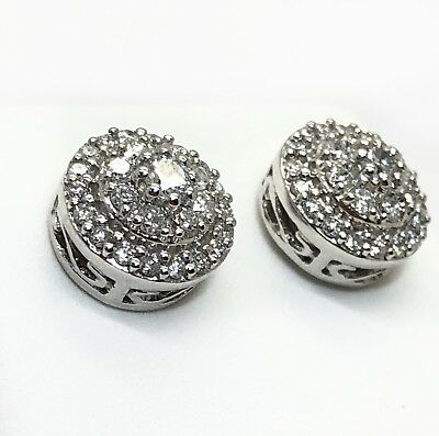 14k Solid White Gold 0.62Ct Diamond Round Stud Earrings Double Halo 9MM Unisex