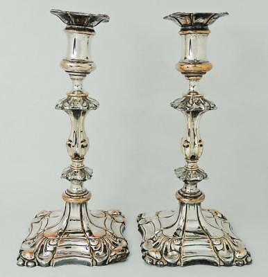 Stunning WILLIAM IV OLD SHEFFIELD PLATE CANDLESTICKS c1835 Some Cosmetic Flaws