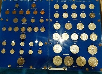 58 Coin Complete Set Of Panama Coins  1904-1966 In Capital Plastic Holder