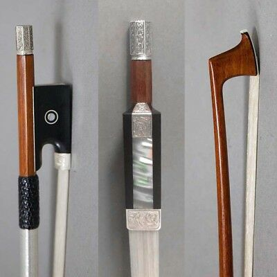 Master Silver Mounted Ebony/Silver Frog Pernambuco Violin Bow for 4/4 Violin