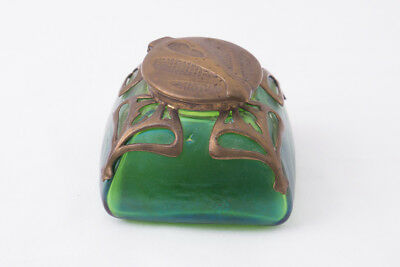 Antique Kralik Art Nouveau Green Glass and Brass inkwell A7