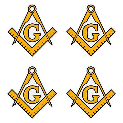 "Masonic Square and Compass Gold Very Small 1"" Reflective Decal Sheet of 4"
