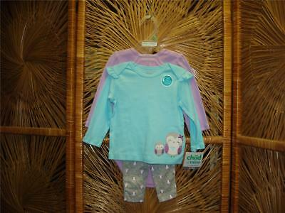 "Child of Mine By Carter Baby Infant Toddler Girl ""Owl"" 3pc set"