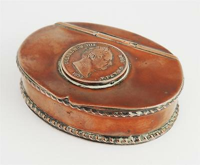 Pretty ANTIQUE SILVER PLATE TRINKET BOX KING WILLIAM IV COIN Lid 1834