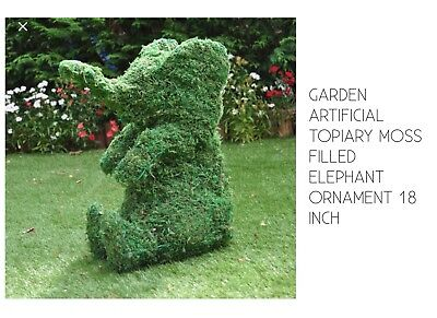 Artificial Garden Topiary Animal Elephant Moss Filled Frame Orniment 18 Inch
