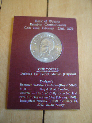 Bank of Guyana Republic Commemorative One Dollar Coin 1970 Unique Free Ship!