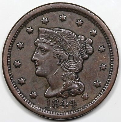 1844 Braided Hair Large Cent, XF