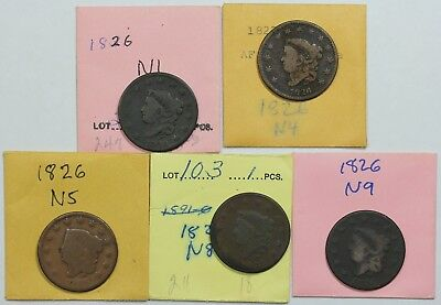 Lot of 5 different 1826 Coronet Head Large Cent die varieties, mixed grades