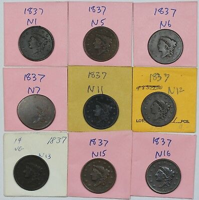 Lot of 9 different 1831 Coronet Head Large Cent die varieties, mixed grades