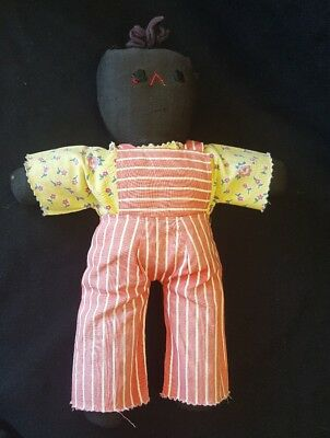 "BLACK AMERICANA ""MAMMY"" STYLE CLOTH DOLL Handmade vintage linen and cloth 10 in."