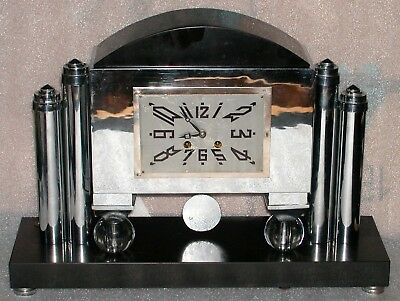 Vintage Art Deco Portico Mantle Clock T&S Glass Balls Chrome Columns Slate Arch