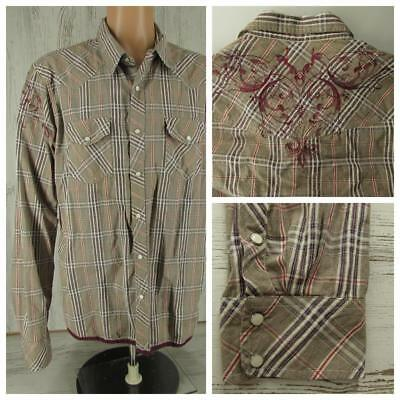 Vintage Red Western Shirt Tan Plaid Embroidered Pearl Snaps Men's Size XXL 2XL