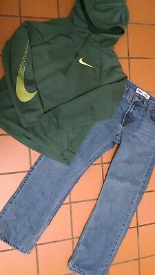 Boys Lot Of 2 Green Nike Hoodie L & Levi's 505 Straight Leg Jeans 16 (28 X 27))