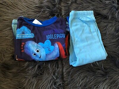 baby boy pyjamas in the night garden iggle piggle blue long size 12-18 months