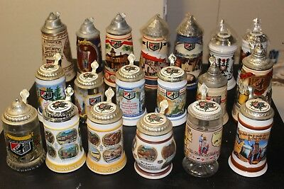 Set of 19 Heileman Brewery Old Style Beer Steins Lidded Edition Employee Steins