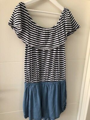Seed Teen Jumpsuit, Size 14, Multi white, Navy Blue Stripe