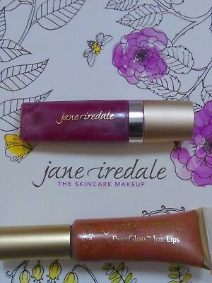 """Set of 2! Jane Iredale """"PureGloss"""" Lip Gloss in Candied Rose and Apricot Fizz."""