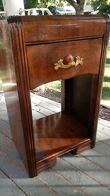 Vintage 1930's Art Deco Waterfall Nightstand/EndTable Single draw. Refinished.