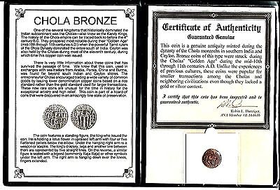 11th CAD bronze coin of the Chola Dynasty that ruled South India,Certif & Album