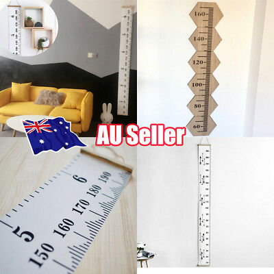 Wooden Kids Growth Chart Children Room Decor Wall Hanging Height Measure Ruler R