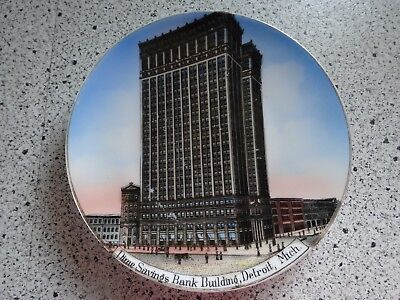 Dime SAvings Bank Building Detroit Advertising Plate Made in Germany Antique
