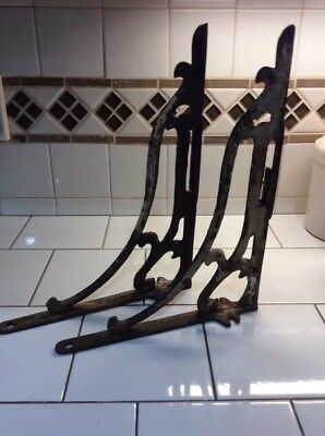 ANTIQUE Large Set Of Cast Iron Garden Braces Or Shelf Brackets