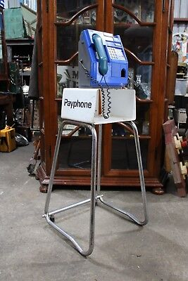Vintage Blue Telecom Pay Phone Stand with Key Telephone