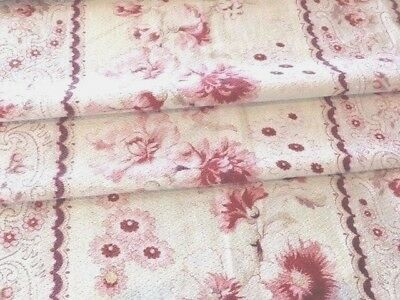 Antique 1890's French Flowers PEONY Shabby Chic Pink Red ROSES