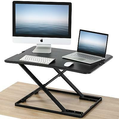 Black Height Adjustable Standing Desk Monitor Riser Tabletop Sit to Laptop Stand