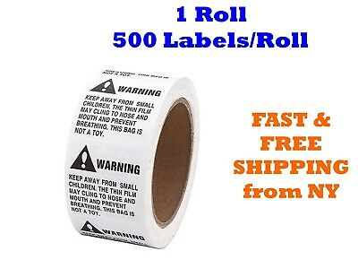 1 Roll ; 500 Labels 2 x 2 Suffocation Warning FBA approved Labels/Stickers