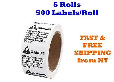 5 Rolls ; 2500 Labels 2 x 2 Suffocation Warning FBA approved Labels/Stickers