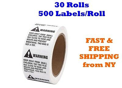 30 Rolls ; 15000 Labels 2 x 2 Suffocation Warning FBA approved Labels/Stickers