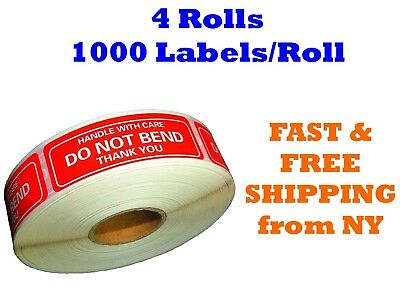 "4 Rolls 1""x3"" DO NOT BEND HANDLE WITH CARE Stickers 4000 Labels (1000 Per Roll)"