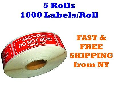 "5 Rolls 1""x3"" DO NOT BEND HANDLE WITH CARE Stickers 5000 Labels (1000 Per Roll)"